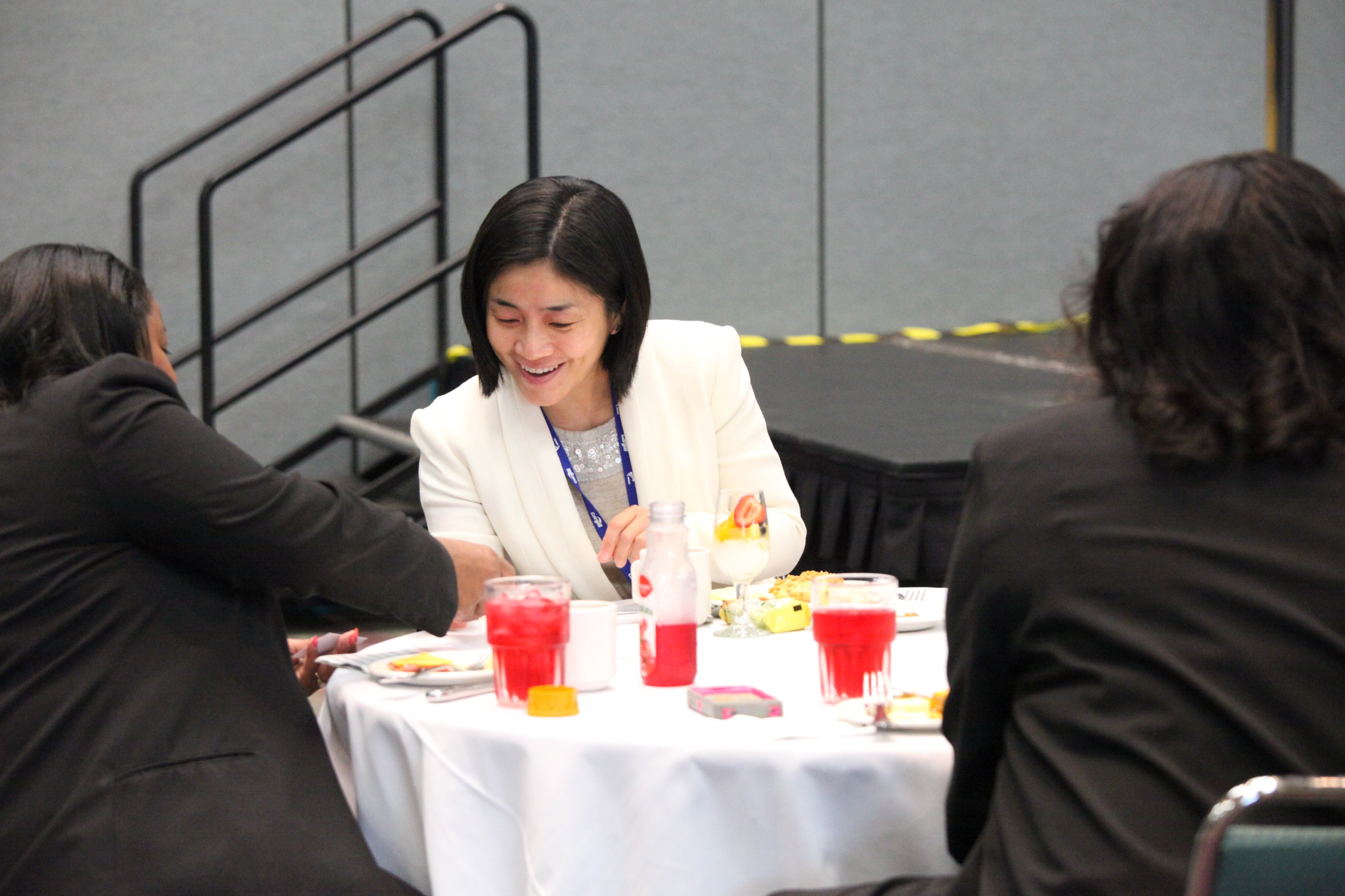 NMSDC guests exchange business cards at Wednesday's Networking Continental Breakfast.