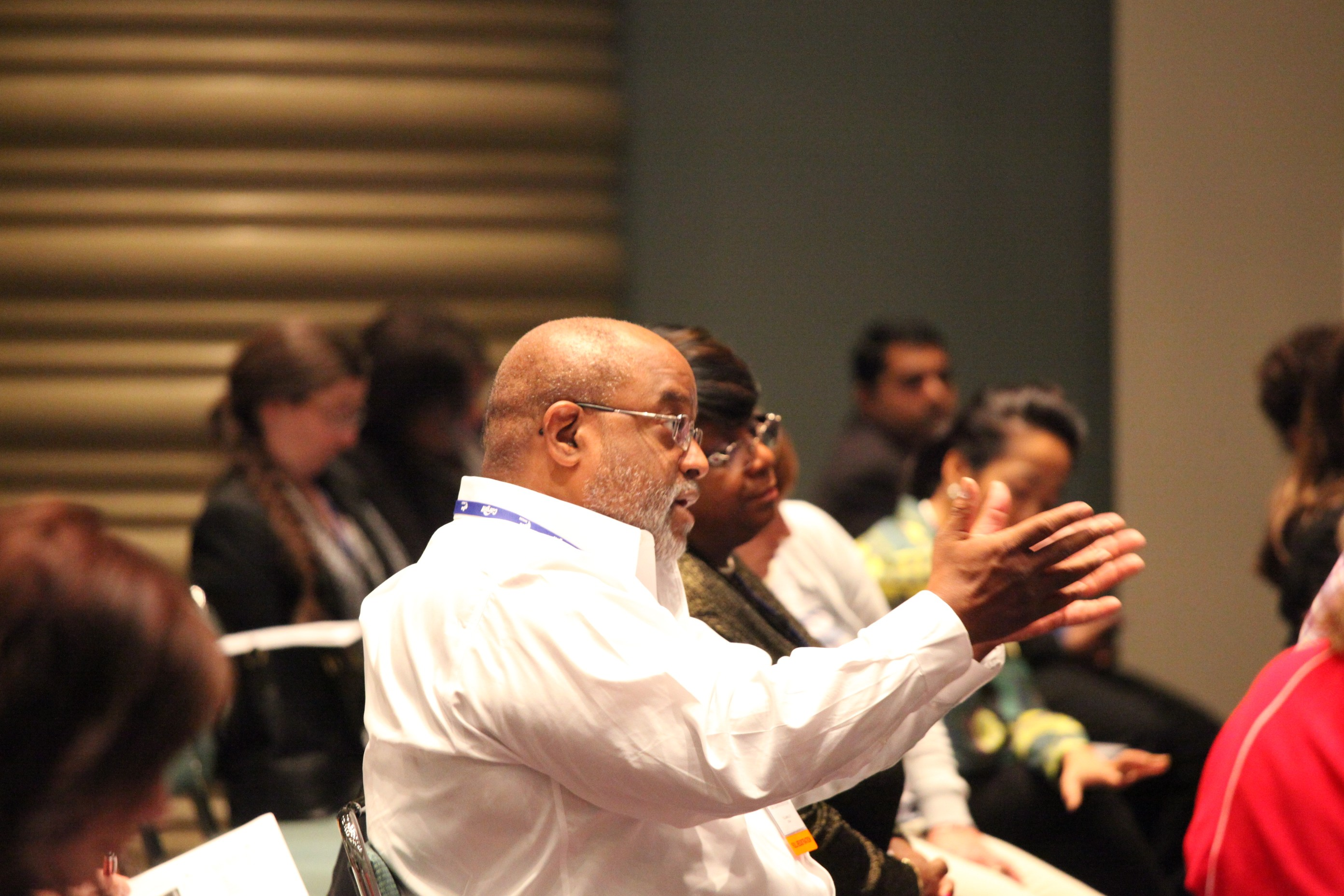 Workshop participant contributes to the discussion on analyzing corporate spend data at Wednesday's session.