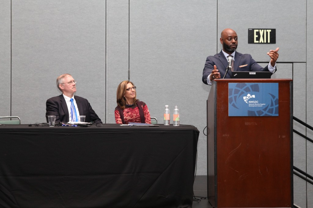 Panelist Corey Smith of Major League Baseball with Pilar R. Bernd of The Bernd Group and George Ehrgott of Communications Test Design.
