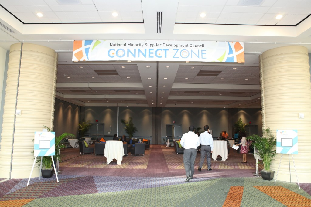 Conference attendees entering the NMSDC Connect Zone to network.