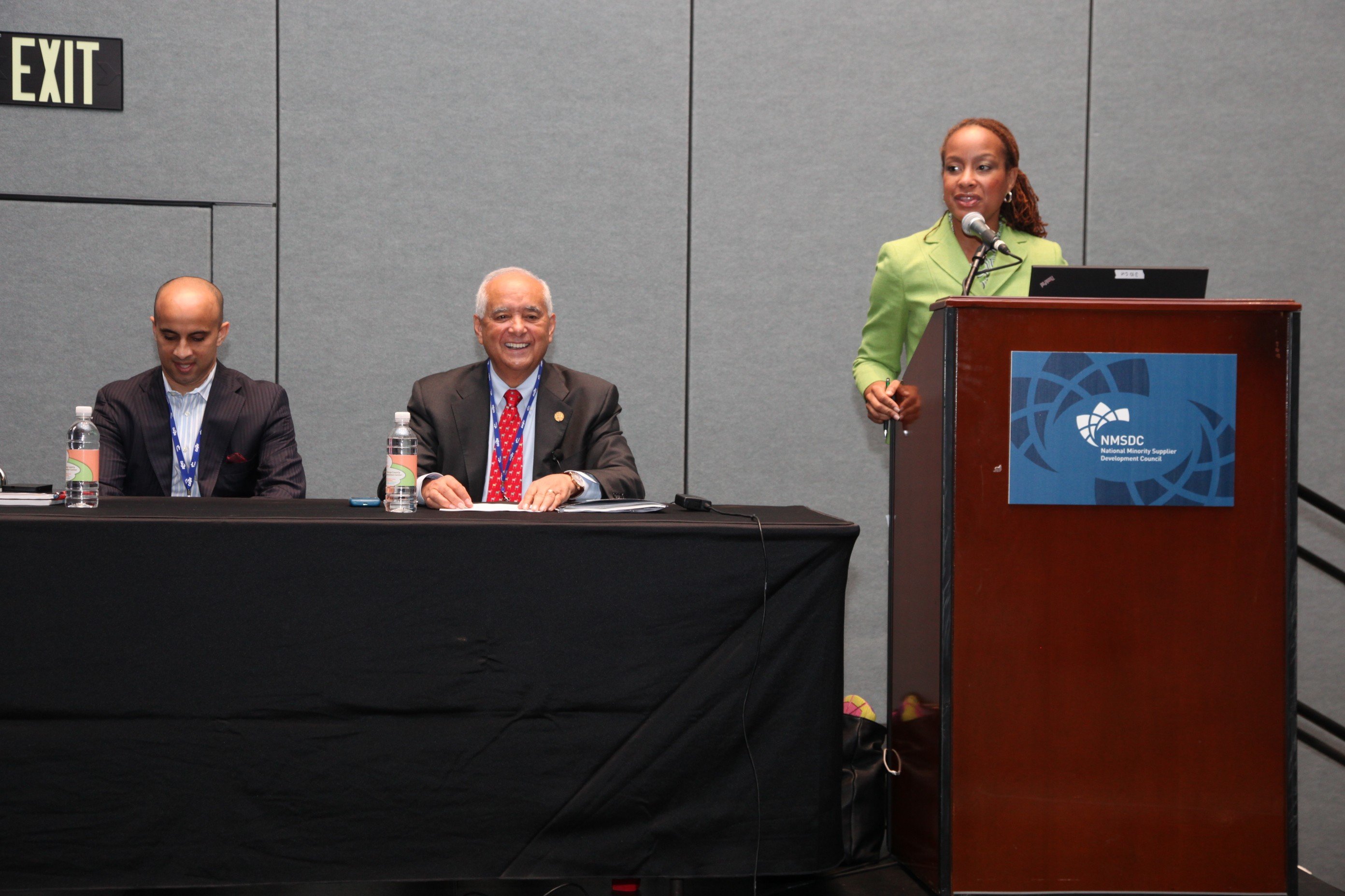 Moderator I. Javette Hines of Citigroup with panelist Serafin U. Mariel of the Business Consortium Fund and Richard Powell of APC Holdings.
