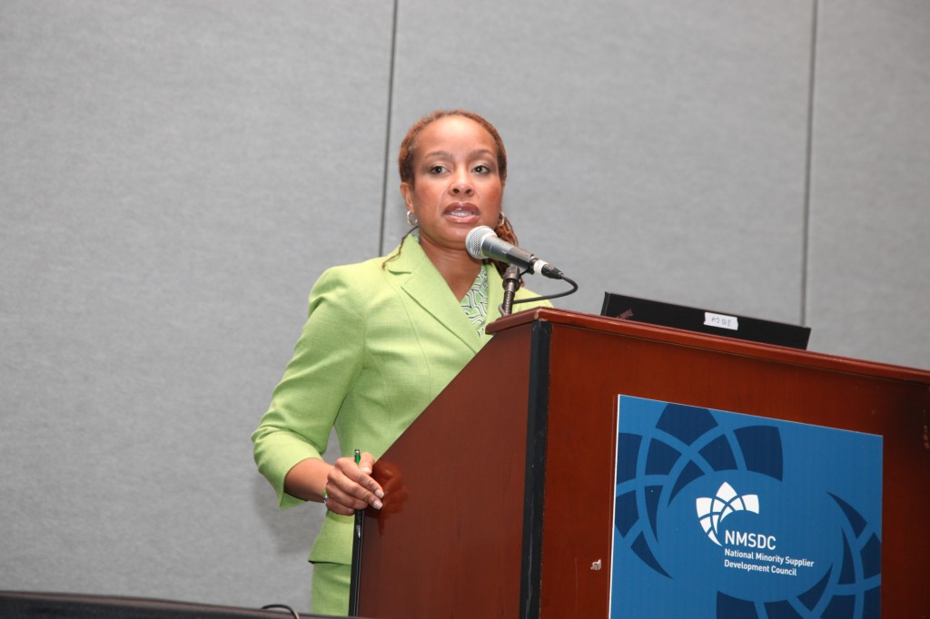 I. Javette Hines of Citigroup moderates a panel on how to access capital at Tuesday's workshop.