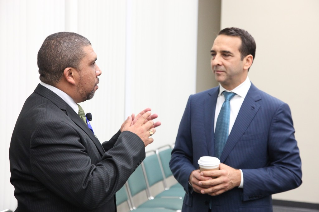 Gary Joseph of the South African Supplier Diversity Council chats with David Hernandez, MBE Conference Co-chairperson, before Tuesday's International Luncheon.