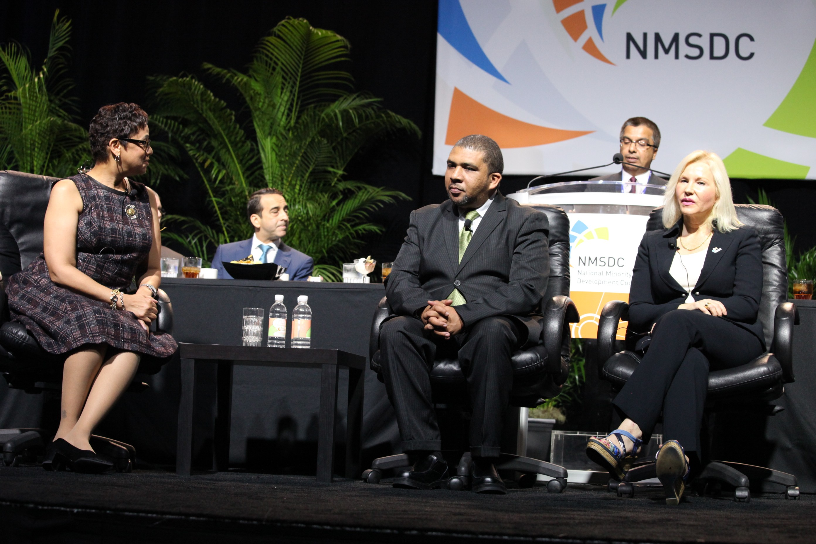 NMSDC President Joset Wright-Lacy with luncheon panelist Gary Joseph of the South African Supplier Diversity Council and Carmen Castillo of SDI International Corp.